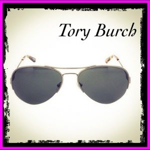 Tory Burch Vintage Silver/Green Solid Sunglasses